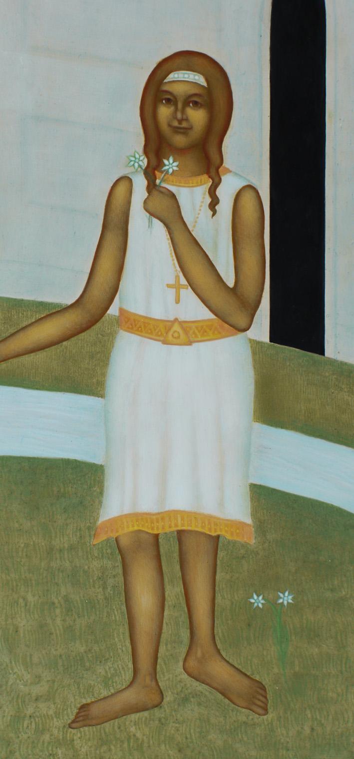 """Sofia, som i barnets lekfulla gestalt, hand i hand med den älskade påven Johannes Paulus II, här representerar personen i vardande – en bild av den gudomliga skönhet som bor i varje människa. Detalj ur ikonen """"Beatus Ioannes Paulus P.P. II"""", målad av Lars Gerdmar. Foto: Mattias Piltz"""