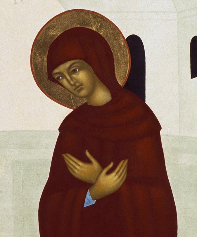 1 Maria i bebådelsen, närbild