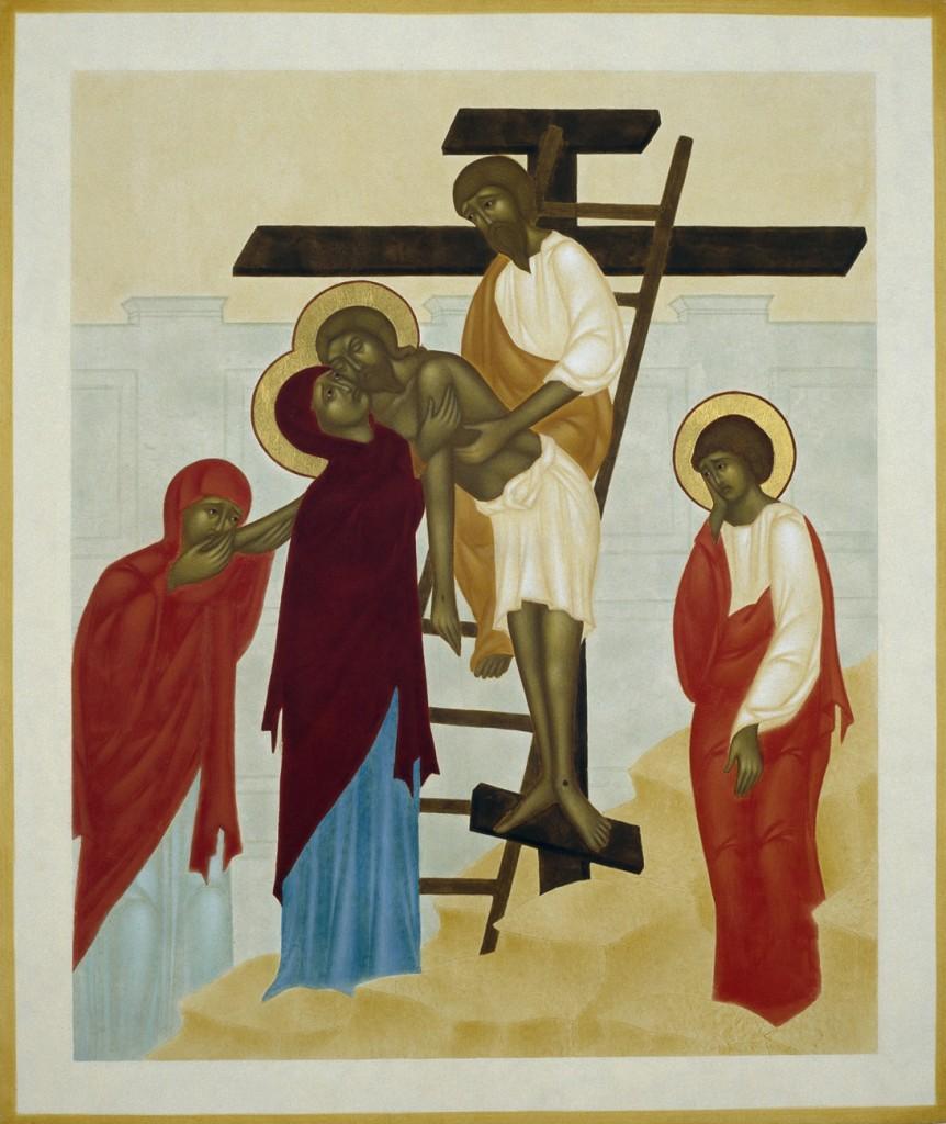 Nedtagandet från korset. 37 x 31 cm. Ikon målad av Lars Gerdmar. Foto: Bo Wiberg.