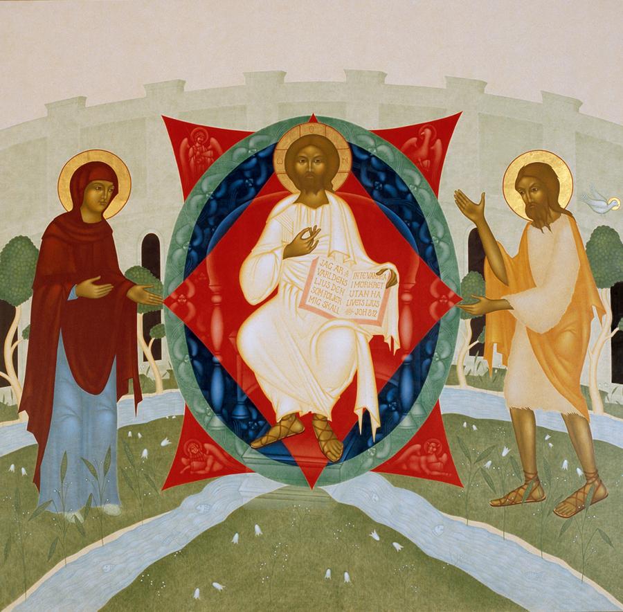 1. Den tronande Kristus, flankerad av Guds moder Maria och den helige Johannes Do?paren. Centralmotiv i altarska?pet Majestas Domini. 208 x 204 cm. ma?lad 2000_2001-2